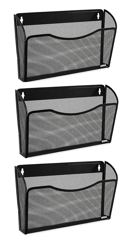 Easepres Mesh 3 Pockets File Organizer Hanging File Organizer Vertical Wall File Organizer Holder Rack