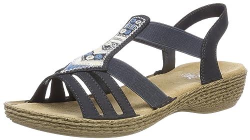 Womens 65807 Closed Toe Sandals, Blue Rieker