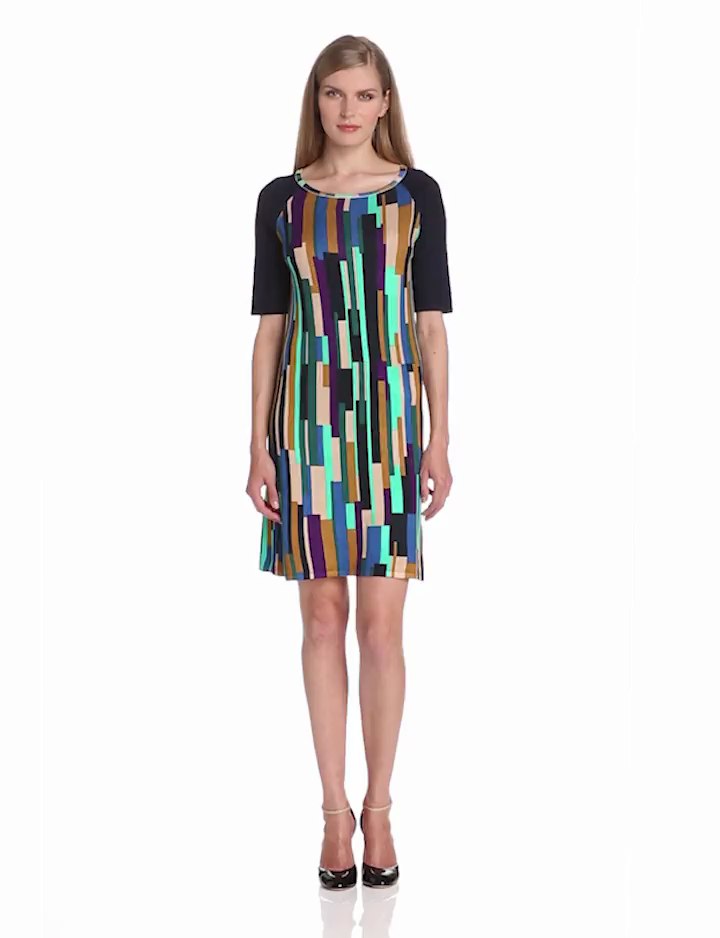 Evolution by Cyrus Womens Elbow Sleeve Boat Neck Dress with Tile Print, Night City, Large