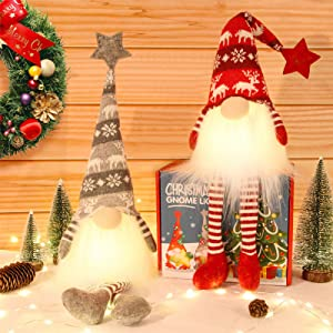 Christmas Gnome Light Swedish Handmade Plush Gnomes Christmas Tree Gnome Home Holiday Ornaments Hung or Placed Christmas Decoration Adorable Lucky Xmas Gift Stuffed Gnomes 2Pack 21.3Inch (Red &Grey).