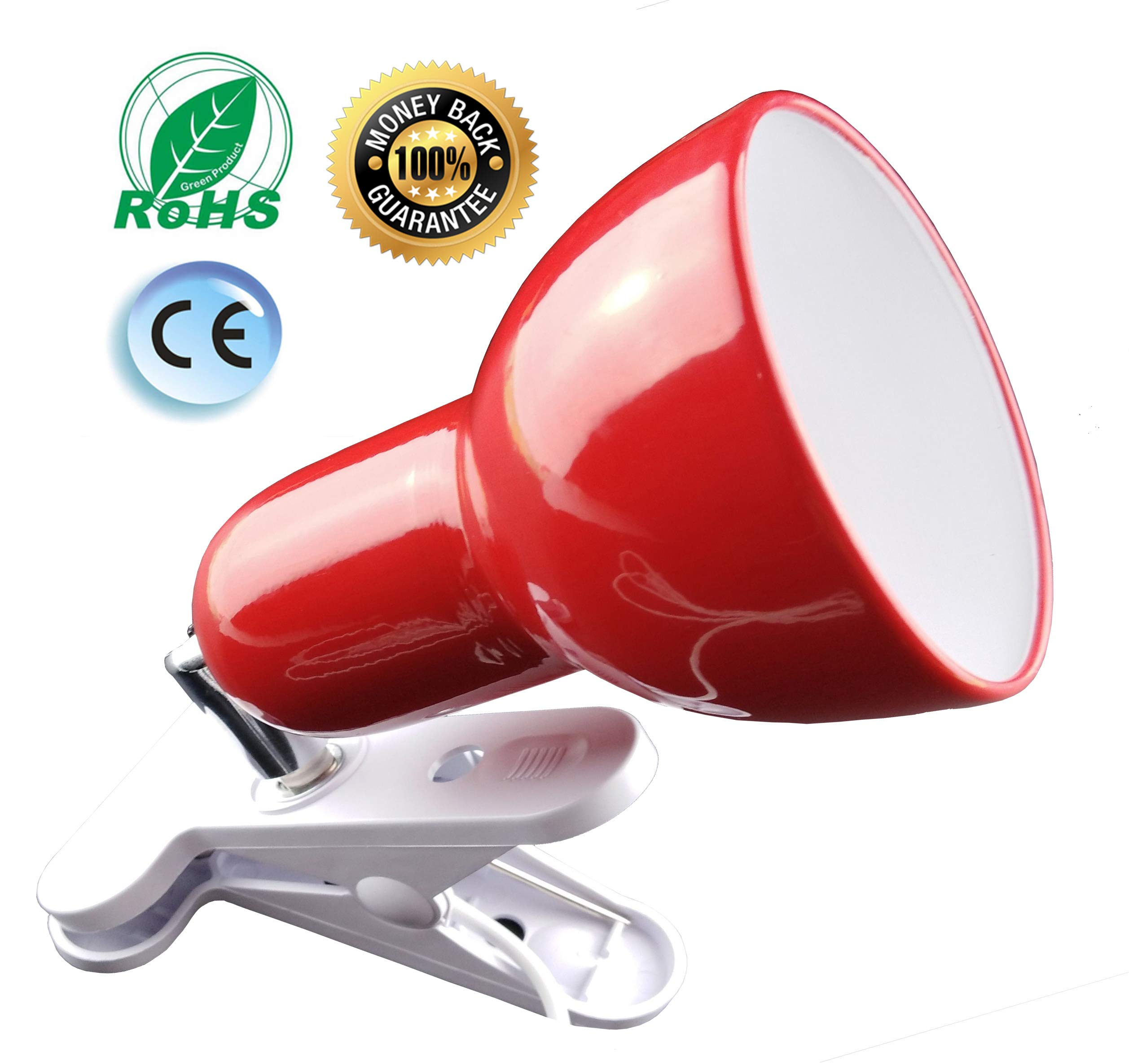 Cilp on Light,360° Rotation Clip on Lamp Portable Book Reading Light,Clamp on Desk/Table/Bunk Bed/Cupboard Home Lighting, (Clamp Light Seven Colors for Your Choice)''Red'' by Sun-Rising