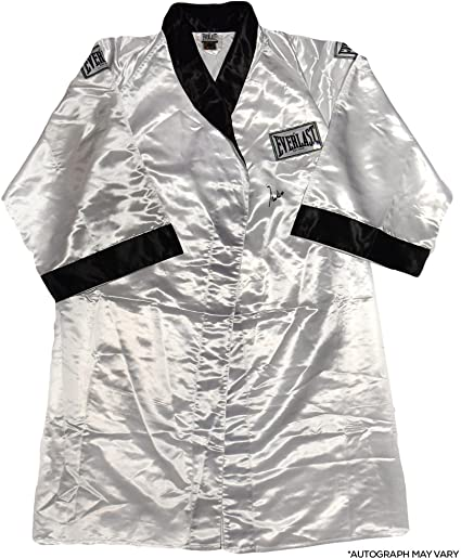 89a011d3bd Muhammad Ali Autographed White and Black Everlast Robe - Fanatics ...