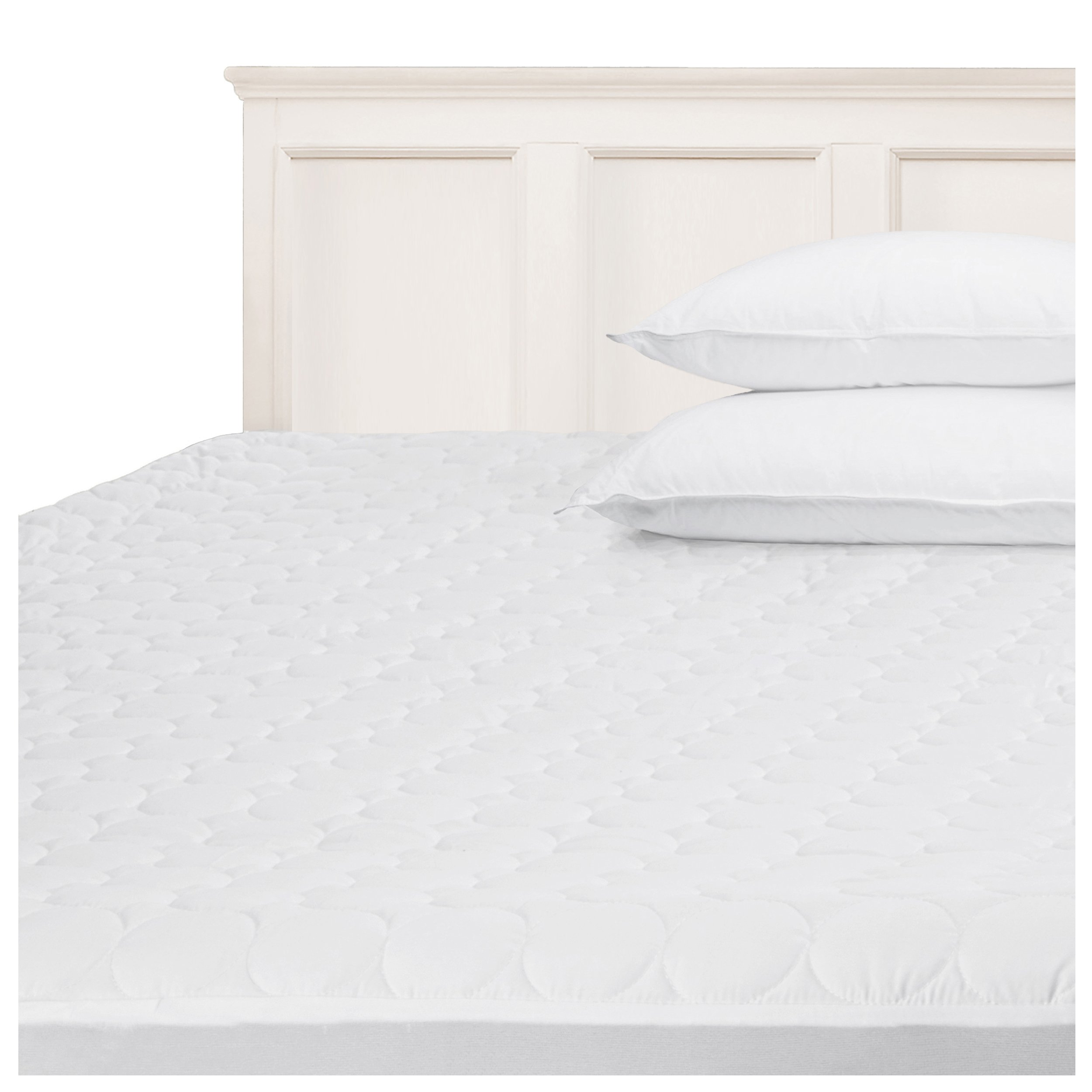 Superior Quilted Mattress Pad Protector Cover, Hypoallergenic, Soft Quilted Microfiber Fabric, Fully Elasticized Deep Pocket Skirt Accommodates 16-inch Mattress, White, Full Size