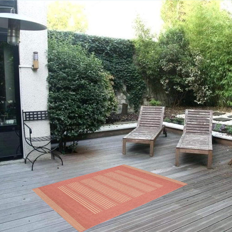 Power-loomed 2 x 36 RugsBeyond Sisal Look Indoor//Outdoor Area Rug Stripes Polypropylene Natural