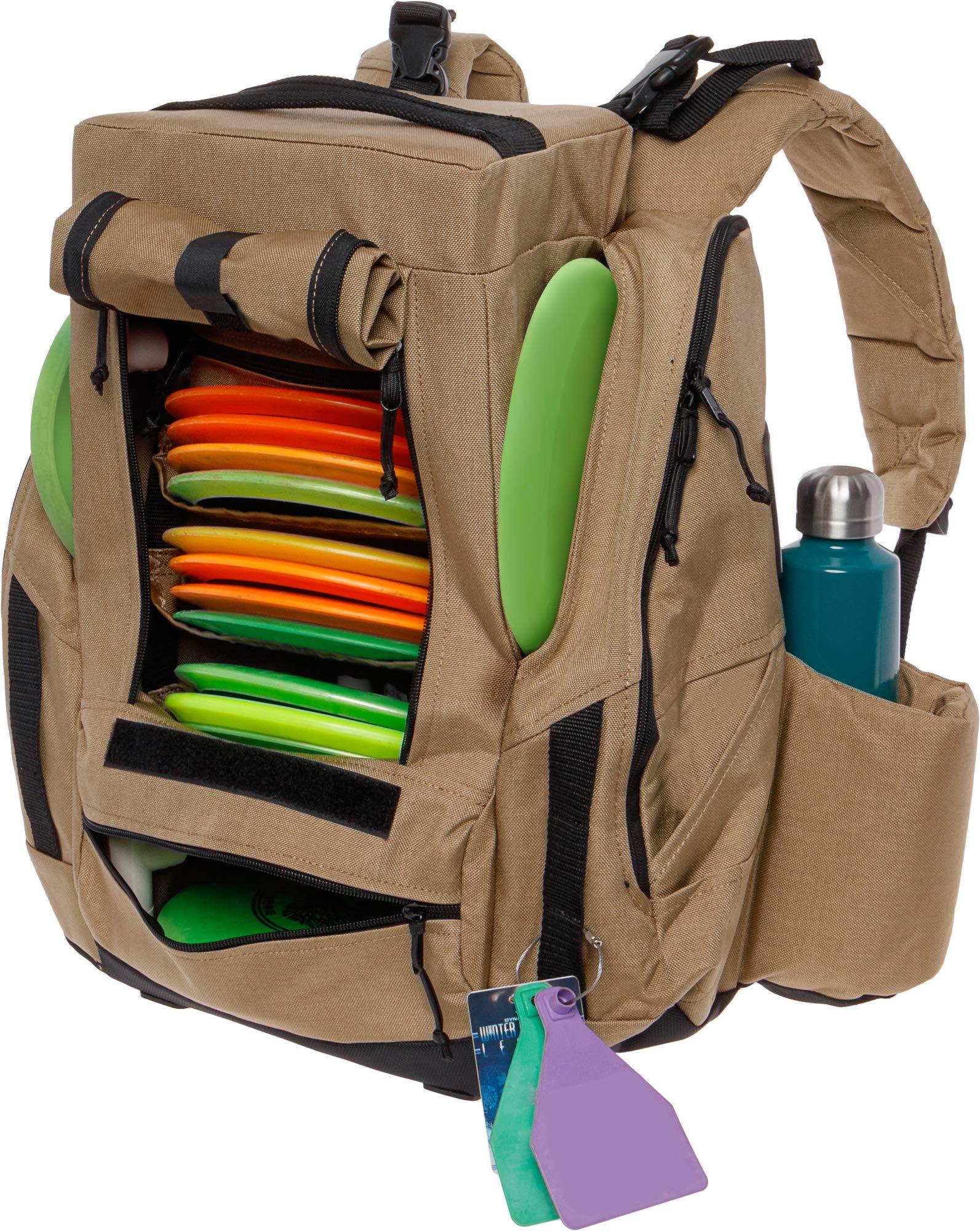 BagLane Fusion Elite Disc Golf Backpack w/Seat & Cooler- 25+ Capacity (Coyote Tan) by BagLane