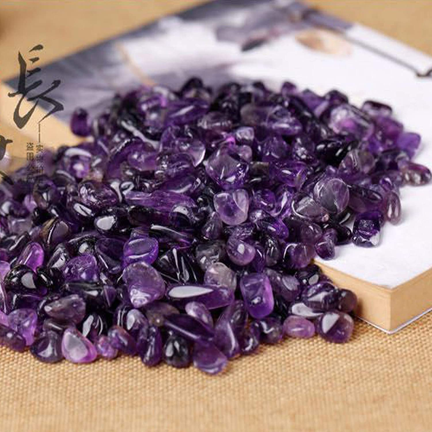 KINGYAO 1 lb Amethyst Small Tumbled Chips Crushed Stone Healing Reiki Crystal Reiki Chakra Stone Making Home Decoration vase fillers Plants Flower pots Decor