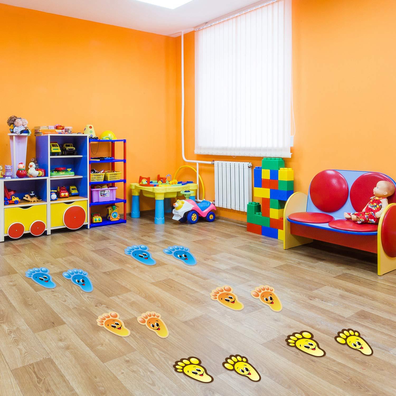 30 Pairs Kids Floor Stickers Self-Adhesive Floor Decals Social Distance Footprint Stickers for Kids Nursery Bedroom Living Room