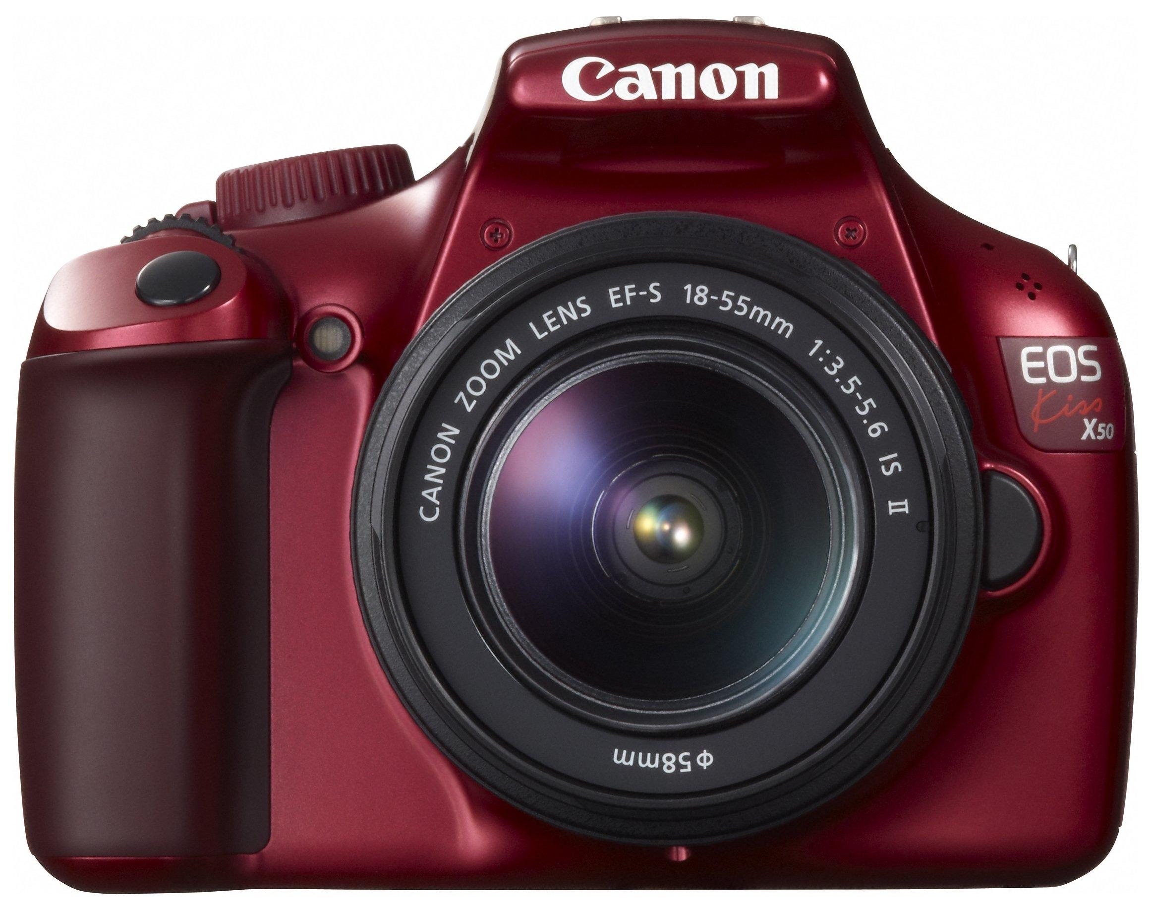 Canon デジタル一眼レフカメラ EOS Kiss X50 レンズキット EF-S18-55mm IsII付属 レッド KISSX50RE-1855IS2LK product image