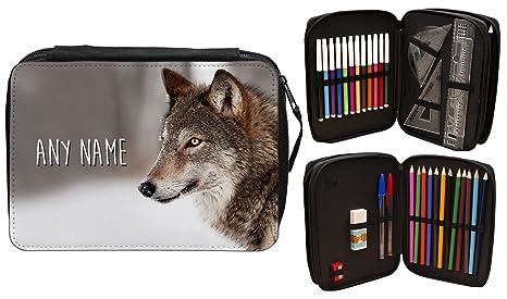 Personalizado lobo estuche escolar nombre regalo escuela ...
