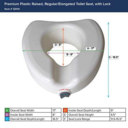 Fine Drive Medical Premium Plastic Raised Toilet Seat With Lock Elongated Short Links Chair Design For Home Short Linksinfo