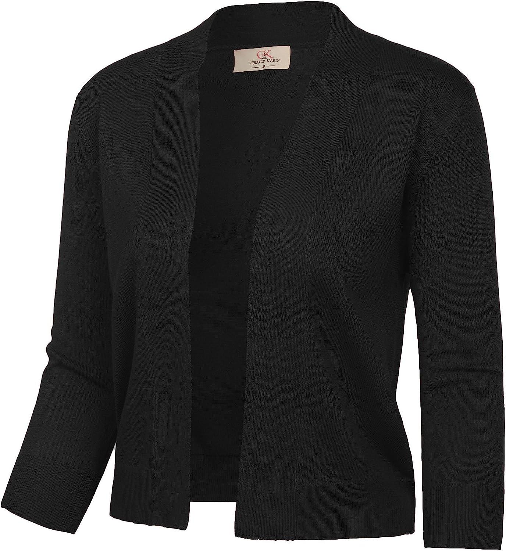 GRACE KARIN Women's 3/4 Sleeve Cardigan Knit Sweaters Cropped Open Front Shrug Bolero…