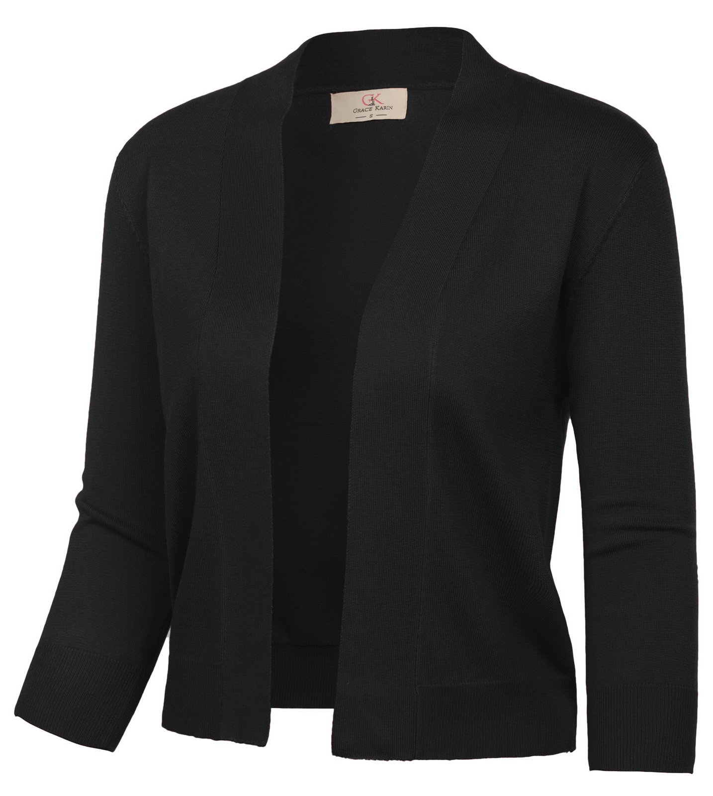 GRACE KARIN Office Cropped Knit Cardigan Jacket for Dress (XXL, Black CL2003)