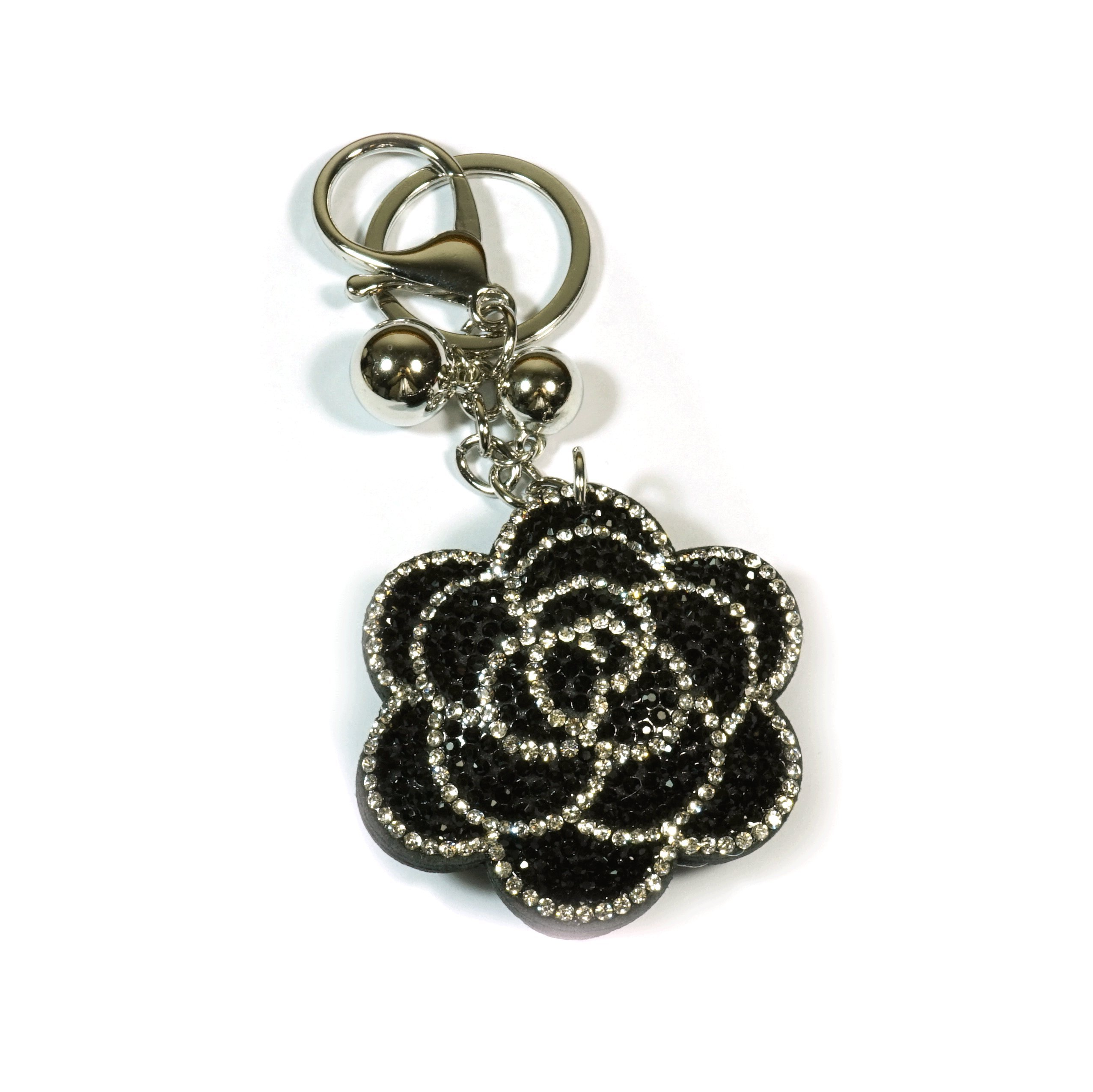 Teri's Boutique Flower Black Clear Rhinestone Bling Plush Style Lovely Women Fashion Keychain (Black)