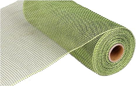 GreenGold Metallic Thread 2 12 Deco Mesh Ribbon