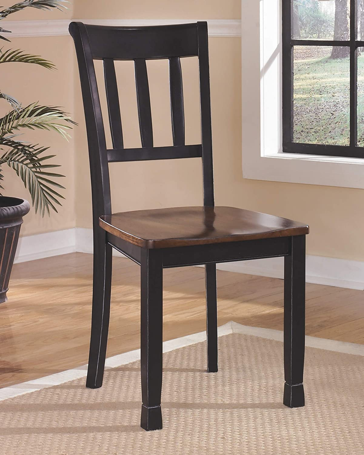 Amazon com ashley furniture signature design owingsville dining room side chair latter back set of 2 black brown table chair sets