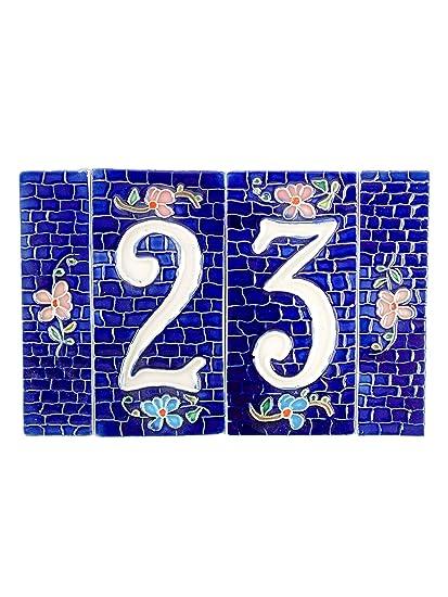 Numeri Civici In Ceramica.Numeri Civici In Ceramica Numero Civico Ceramica Blu