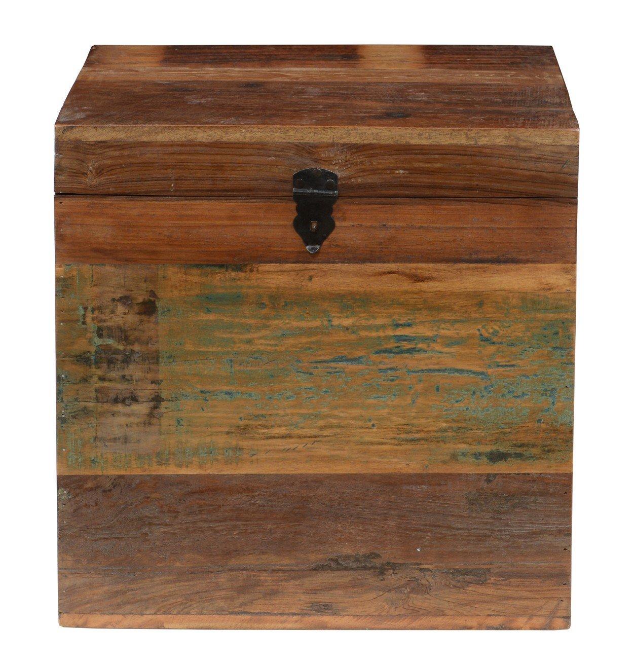 Kosas Home A59946171Z Bali Small Recycled Wood Box, Mahogany Wood Finish with Bronze Hardware