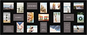 """Gallery Solutions 19"""" x 48"""" Wall Hanging Picture, Holds 21 Photos Collage Frame, 4"""" x 6"""", Black"""