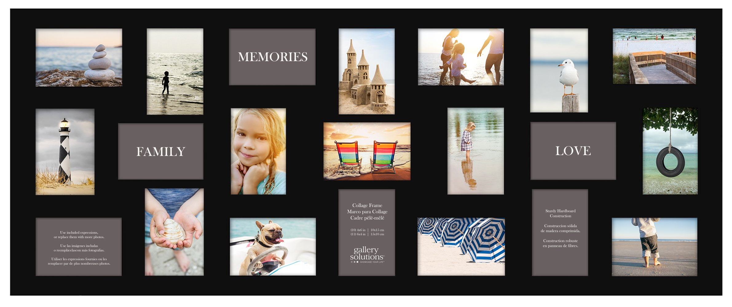 Gallery Solutions Flat 21 Opening Collage Wall Frame 4x6 Images Mat, Black