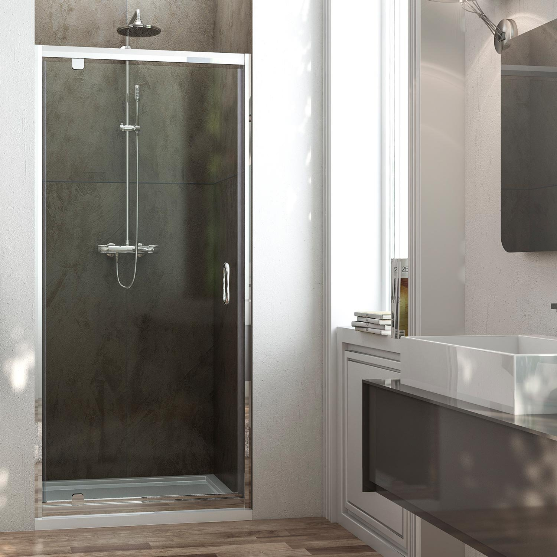 Porta per doccia a nicchia cm 90 Anta Unica vetro trasparente opaco ...