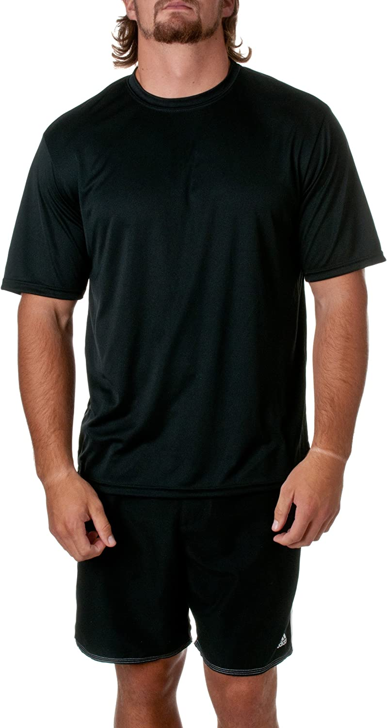 A4 Mens Cooling Performance Crew T-Shirts, Dark Black, Size XX-Large