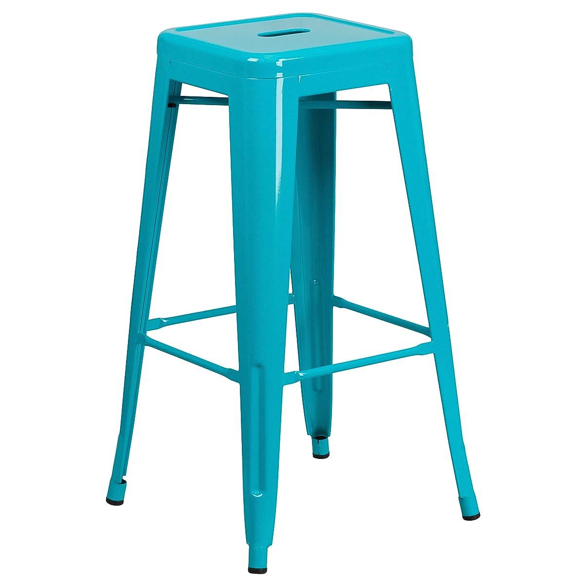 Flash Furniture 4 Pk. 30 High Backless Crystal Teal-Blue Indoor-Outdoor Barstool
