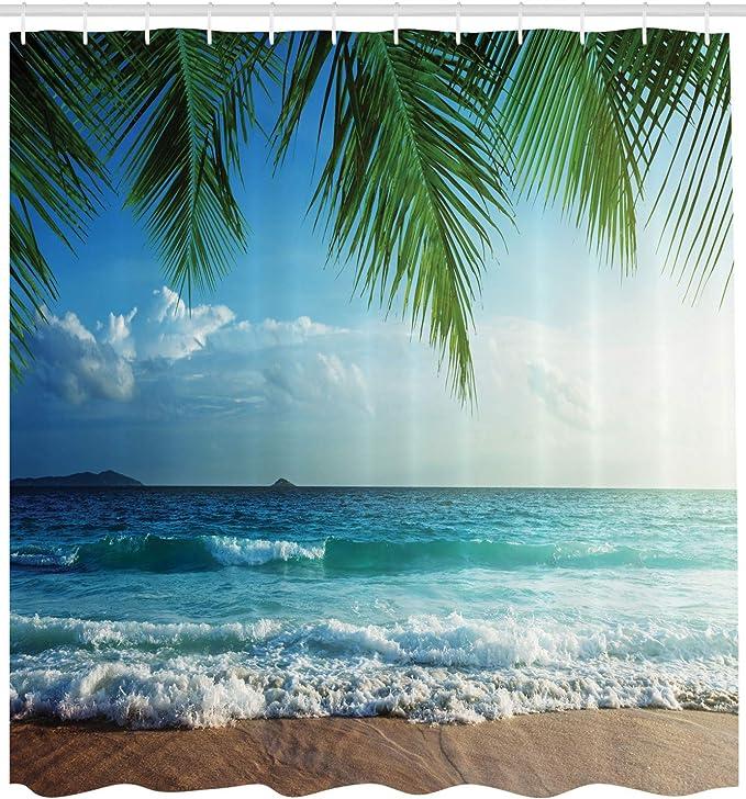 Details about  /Ocean Shower Curtain Tropical Trees Shoreline Print for Bathroom