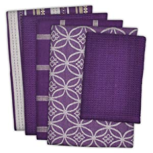 "DII Cotton Oversized Kitchen Dish Towels 18 x 28"" and Dishcloth 13 x 13"", Set of 5 , Absorbent Washing Drying Dishtowels for Everyday Cooking and Baking-Eggplant"