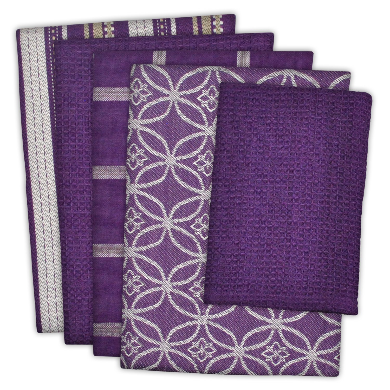 DII Cotton Oversized Kitchen Dish Towels 18 x 28'' and Dishcloth 13 x 13'', Set of 5 , Absorbent Washing Drying Dishtowels for Everyday Cooking and Baking-Eggplant