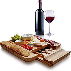 Cheese Cutting Board with Knife Set by Ohouse Natural Bamboo Food Serving Platters and Trays with Drawer-Charcuterie Cutlery,Meat and Crackers-Perfect Housewarming,Wedding and Friend's Birthday Gift