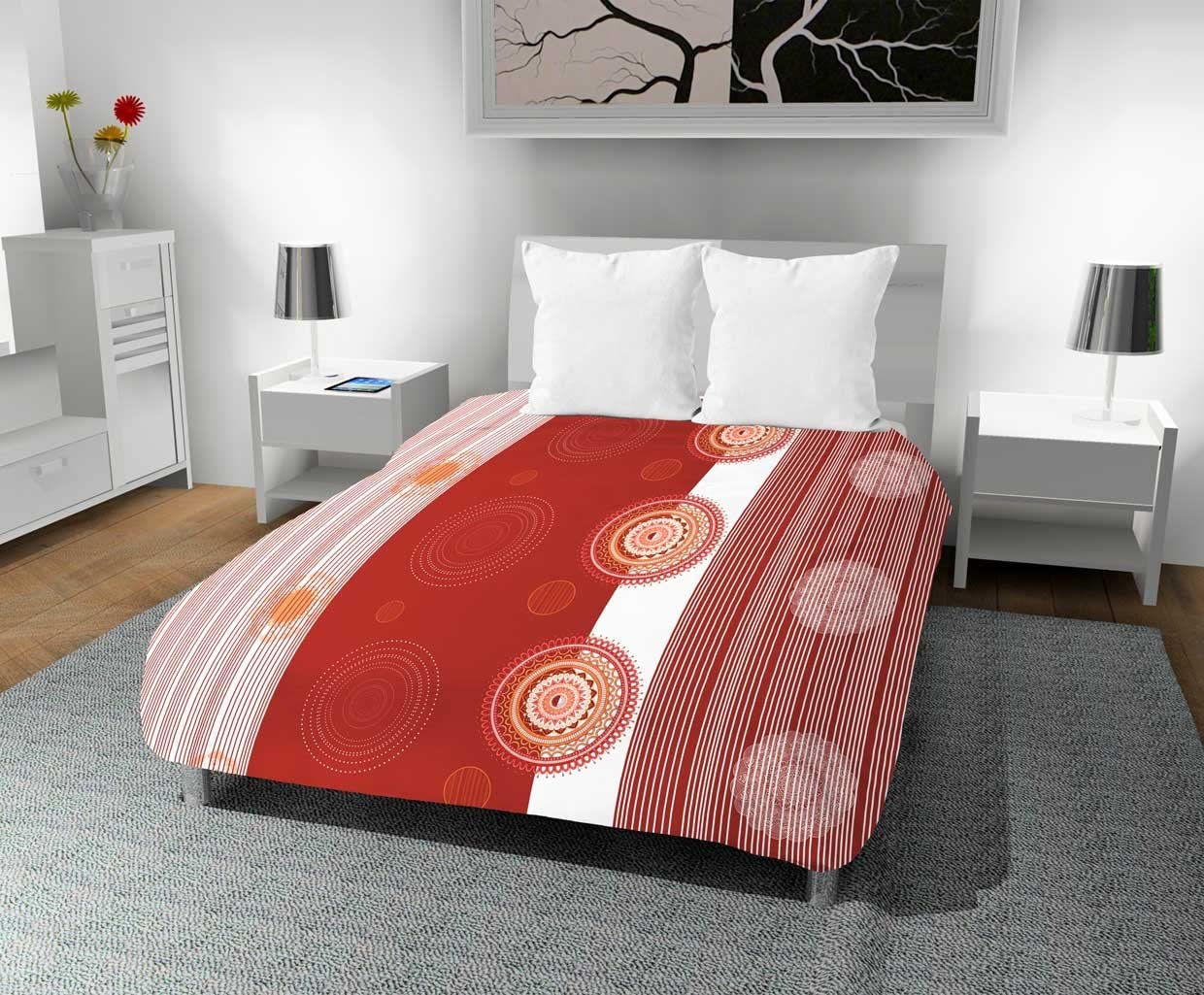 Intemporel Couette Imprim/ée 240x220 cm Mandala Corail Polyester Orange