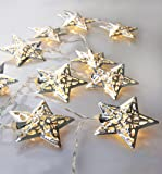 Velice Battery Operated Warm White LED Fairy Lights 10 Metal Star String Decoration Light for Festival Halloween Christmas Party Wedding (Silver)