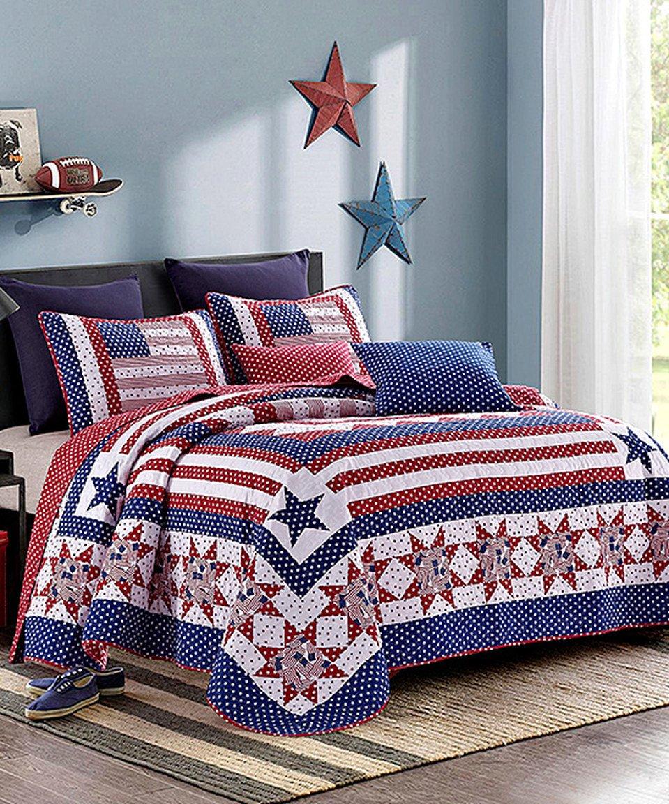 Amazon.com: 3pc King Size Americana Patriotic Stars & Stripes Quilt Set:  Home & Kitchen