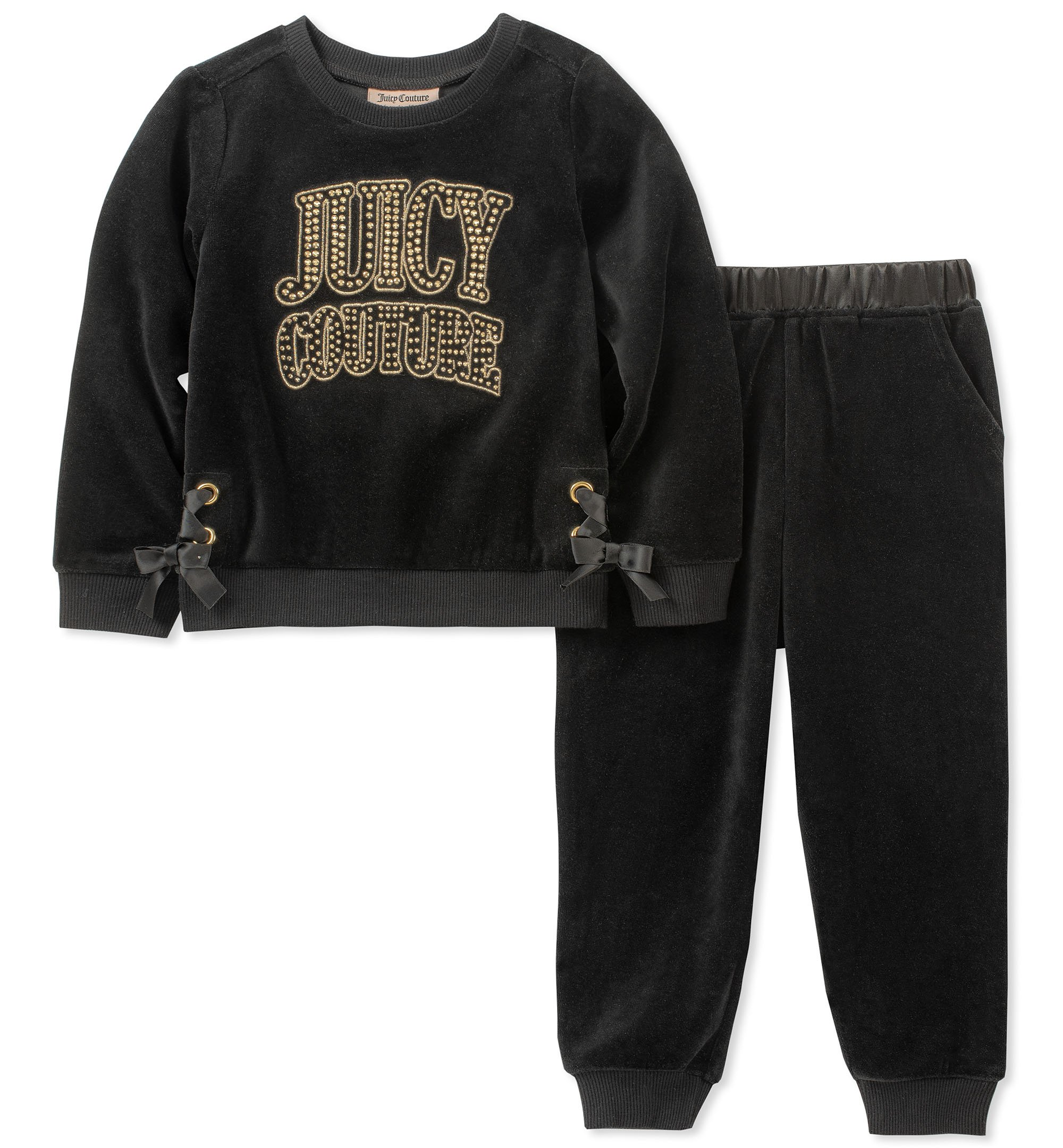 Juicy Couture Girls' Toddler 2 Pieces Pant Set-Velour, Black, 3T