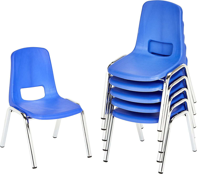 AmazonBasics 16 Inch School Classroom Stack Chair, Chrome Legs, Blue, 6-Pack
