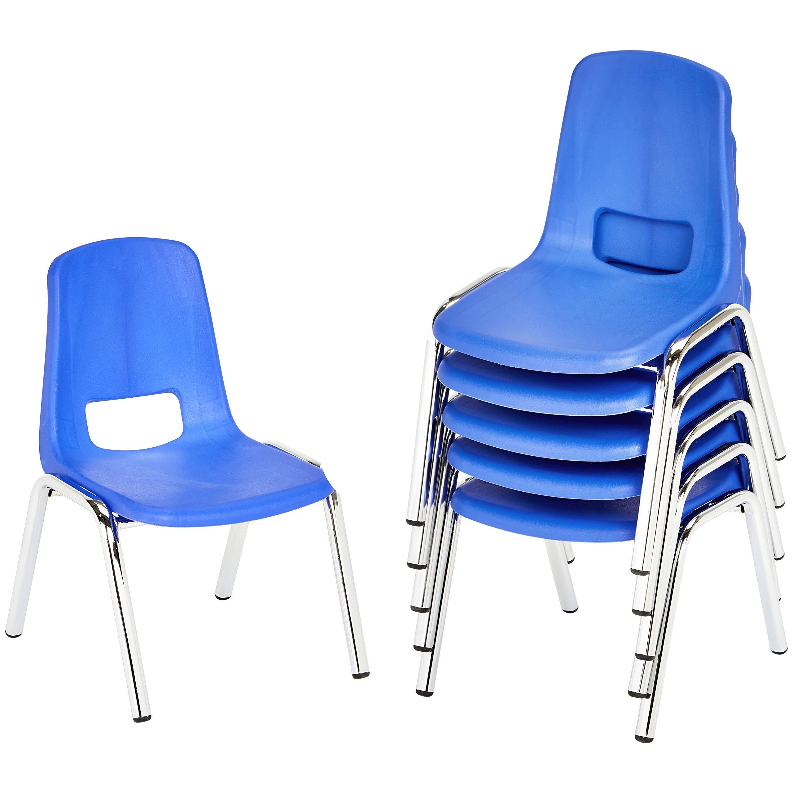 AmazonBasics 10 Inch School Classroom Stack Chair, Chrome Legs, Blue, 6-Pack