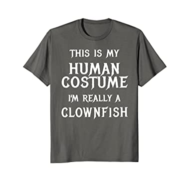 Mens Clownfish Halloween Shirt Easy Fish Costume Funny Kids Adult 2XL Asphalt  sc 1 st  Amazon.com : easy fish costume  - Germanpascual.Com