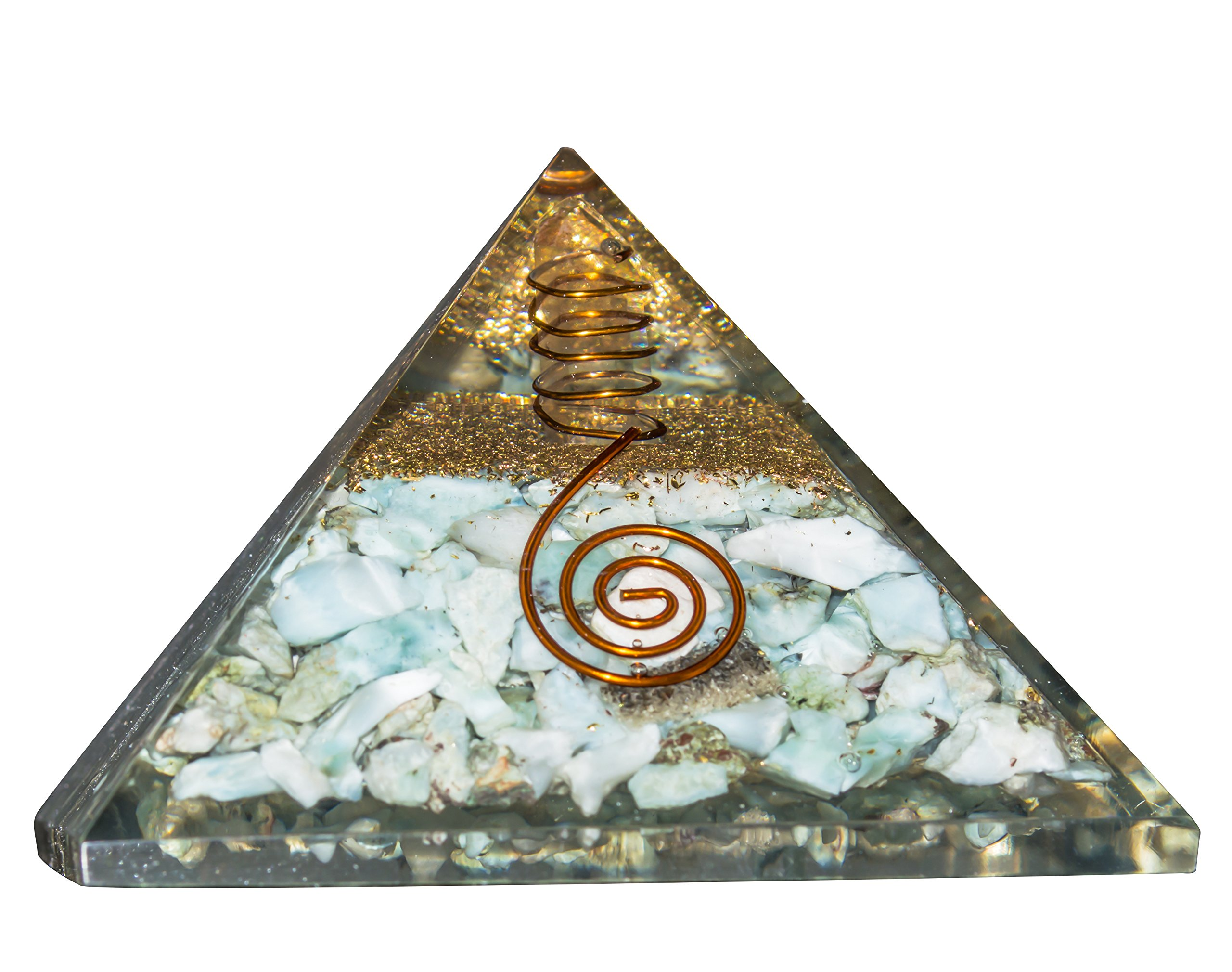 Crocon Larimar Chakra Balancing Orgone Pyramid With Crystal Point Reiki Healing Aura Cleansing Energy Generator Size: 2-2.5 Inch