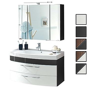 Badmöbel Set Verona Small Anthrazit Weiß 2 Tlg Spiegelschrank 90 Cm