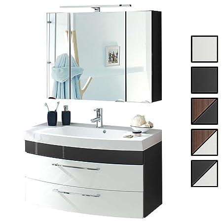 Badmöbel-Set VERONA Small Anthrazit Weiß 2-tlg, Spiegelschrank 90 cm LED  beleuchtet, Badezimmer Waschplatz 100 cm mit 2 Schubladen (Waschbecken + ...