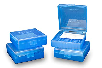Barry's 4 Pack Ammo Box 22 LR 25 Auto Ammunition Storage Case Blue Holds  100 Rounds  22 Long Rifle  25 ACP