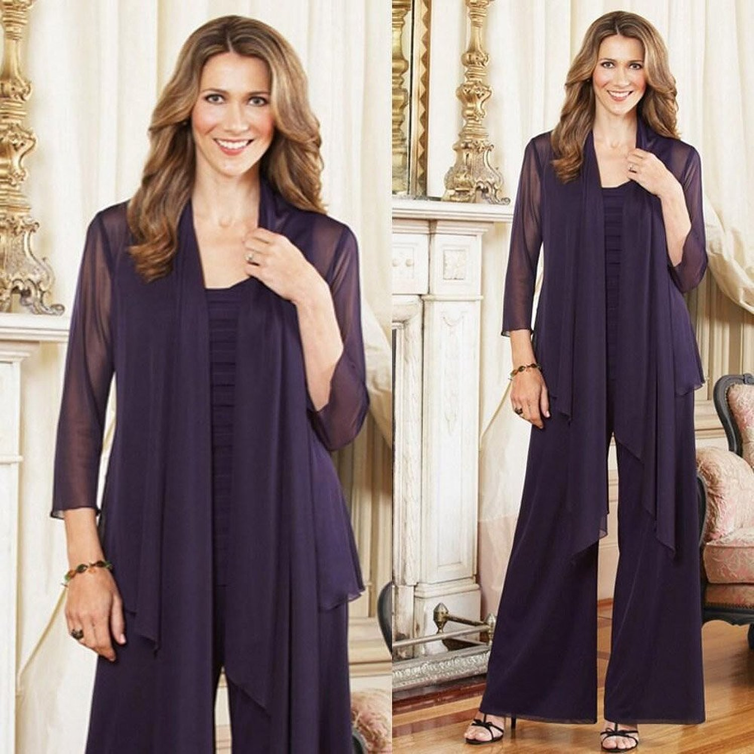 Kelaixiang Purple Mother Formal Pants Suits For Wedding 3 Pieces at ...