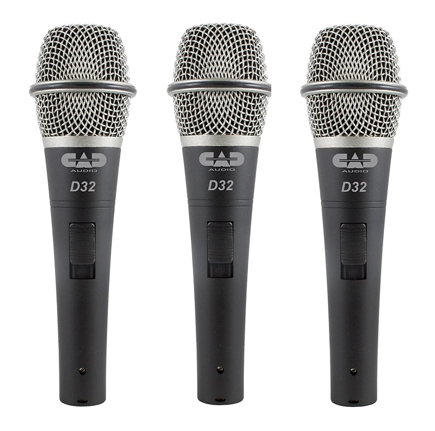CAD Audio D32 Supercardioid Dynamic Vocal Microphone with On/Off Switch, Pack of 3 AMS-D32X3