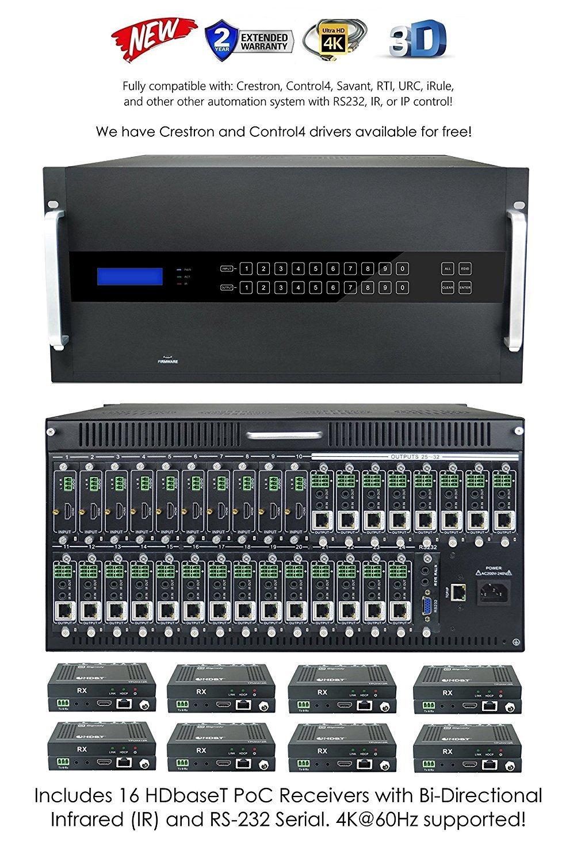 Amazon.com: 16x16 HDbaseT HDMI 4K 60hz Modular Matrix SWITCHER with16  Receivers (CAT5e or CAT6) HDMI HDCP2.2 HDTV Routing SPDIF Audio CONTROL4 Savant  Home ...