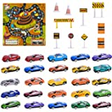 City Cars 36pcs Diecast Cars Play Games with a Map, 25 Cars and 11 Accessories