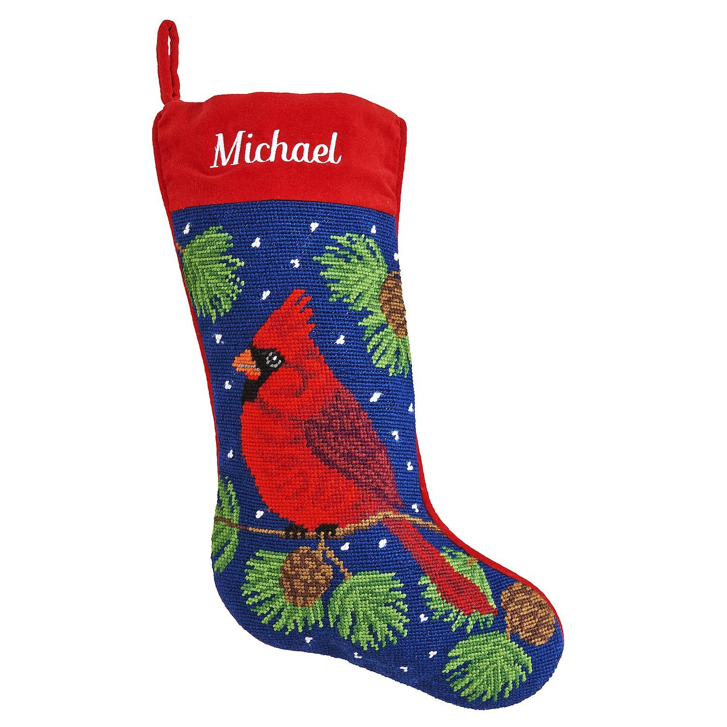 Personalized Needlepoint Christmas Stocking - 8 Designs - Custom Gifts - 17'' (Cardinal)