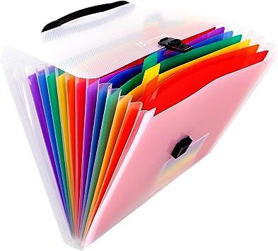 2 unids 13 bolsillos A6 mini carpeta de archivos expandibles arco iris archivo expandible para billetes tarjetas cupones elemento fiscal expandiendo carpetas de boletos port/átil carpeta de archivos