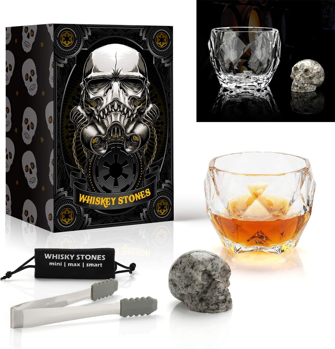 Amazon Com Skull Whiskey Stone And Glass Gift Set Octagon Luxury Glass 550 Ml Reusable Hand Carved Skull Bone Chill Rocks 100 Natural Pure Granite Ideal Novelty Gifts For Men And Whisky