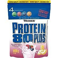 WEIDER Protein 80 Plus Eiweißpulver, Waldfrucht-Joghurt (Low-Carb, Mehrkomponenten Casein Whey Mix für Proteinshakes, 500g)