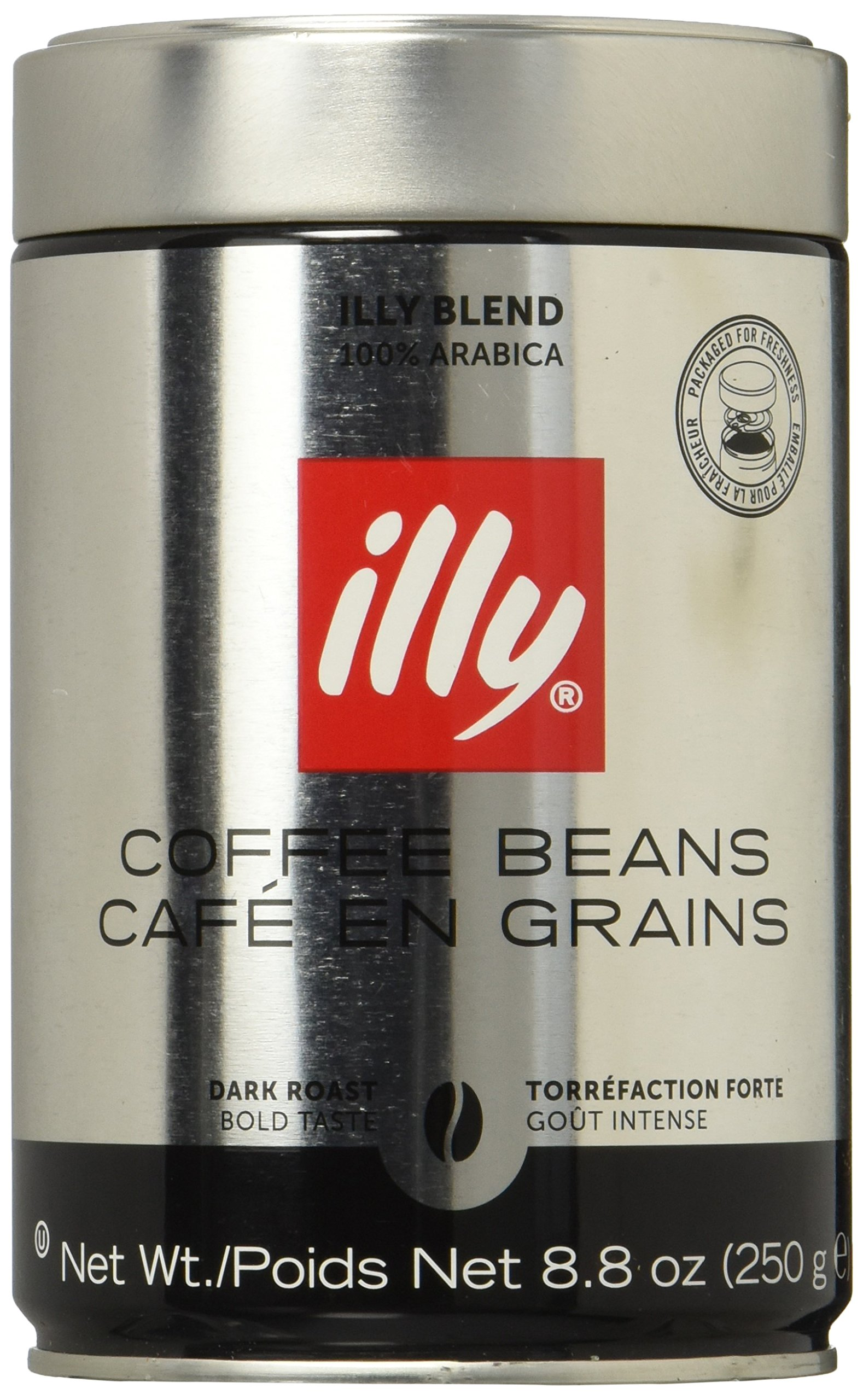 Illy Scuro Whole Bean Coffee Dark Roast Cans - 8.8 Oz (Pack of 6) by Illy